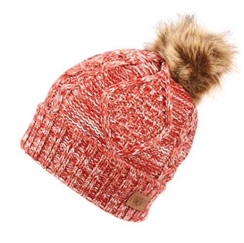 ac158d807ec ANGELA   WILLIAM Women s Winter Fleece Lined Cable Knitted Pom Pom Beanie  Hat