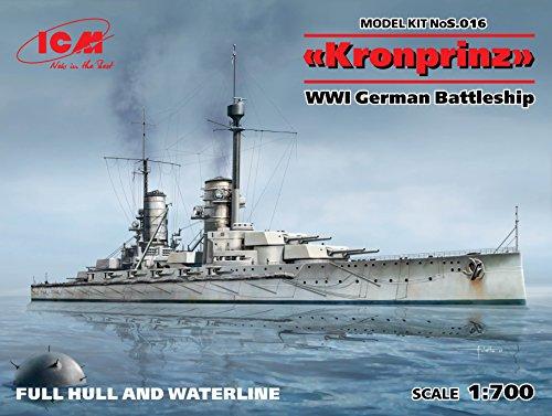 (KRONPRINZ FULL HULL AND WATERLINE WWI GERMAN BATTLESHIP 1/700 ICM S016)