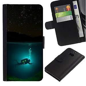 All Phone Most Case / Oferta Especial Cáscara Funda de cuero Monedero Cubierta de proteccion Caso / Wallet Case for HTC One M8 // Diver Diving Underwater Tank Night