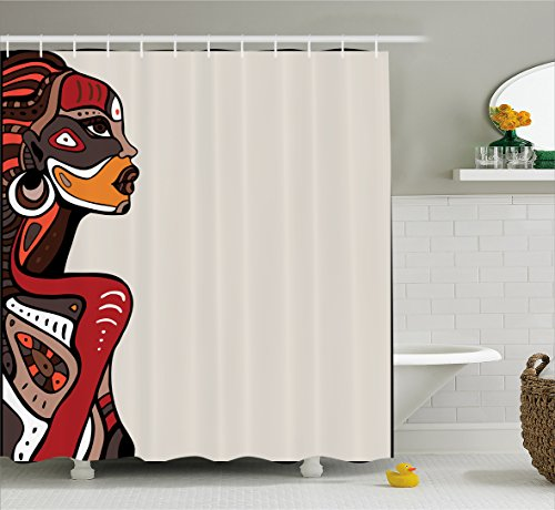 Afro Decor Shower Curtain by Ambesonne, Profile of African Beauty Totem Ethno Fashion Girl with Mask Tattoos Illustration, Fabric Bathroom Decor Set with Hooks, 70 Inches, Multi