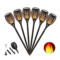 Wasserdicht IP65 Solar Garten Flammen Fackeln 96 LED Bis Dawn Automatische Ein/Aus(Licht Sensor), spotlight Gartenleuchte licht garten beleuchtung solar spotlight Außen warmlicht (6X) [Energieklasse A++]