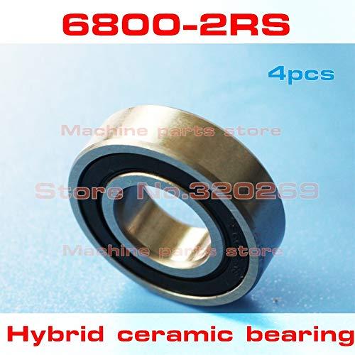 (Fevas 4pcs Radial 6800 61800 6800RS S61800 2RS 10195 10x19x5mm Stainless Steel Hybrid Ceramic Ball Bearing Si3N4 Bike hub)