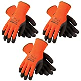 3 Pack Powergrab 41-1400 Thermal Hi-Vis Orange/Black Cold Condition Work Gloves (XX- Large) (3) by Powergrab