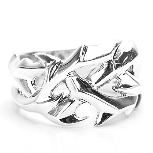 Beydodo Mens Silver Ring, Crown Of Thorn Ring Size 10 Silver Ring for Men Hip Hop by Beydodo