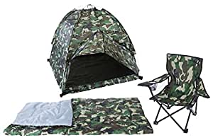 Pacific Play Tents Kids Green Camo Dome Tent Set with Sleeping Bag and Chair