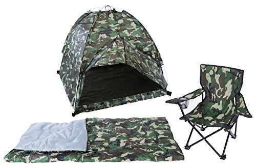 Pacific Play Tents 23335 Kids Green Camo Dome Tent Set with Sleeping Bag and - Camo Pacific