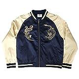 Standard Issue Embroidered Street Phoenix Dragon Souvenir Bomber Varsity Jacket - Navy/Gold