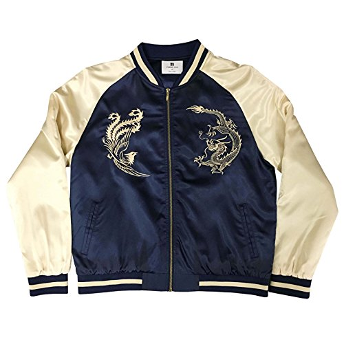 Blue Embroidered Dragon (Standard Issue Embroidered Street Phoenix Dragon Souvenir Bomber Varsity Jacket - Navy/Gold)