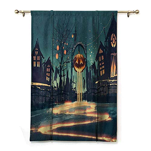 DONEECKL Simple Curtain Fantasy Art House Decor Halloween Theme Night Pumpkin and Haunted House Ghost Town Artful Privacy Protection W32 xL72 Teal Orange ()