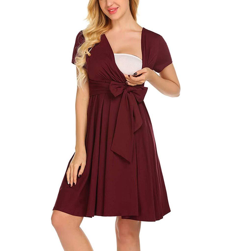 Zerototens Women Pregnants Dress, Ladies Maternity Dresses Short Sleeve Cross V Neck Bandage Dress Plain Pregnancy Midi Dress Breastfeeding Dress Nightdress