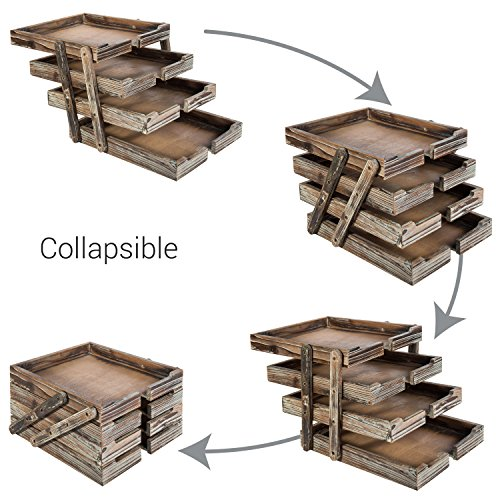 4-Tier Distressed Brown Wood Desktop Document Paper Organizer Collapsible & Expandable Stacking Trays by MyGift (Image #3)