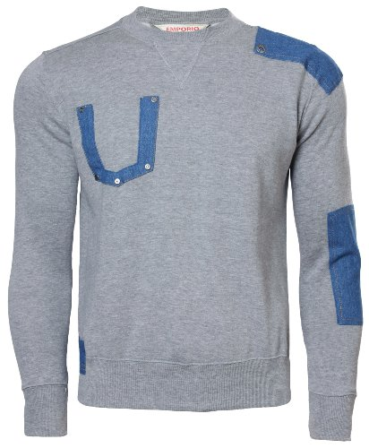 Emporio Men's Fleece Over Head Sweatshirt Top Medium Grey - Giorgio Armani Top