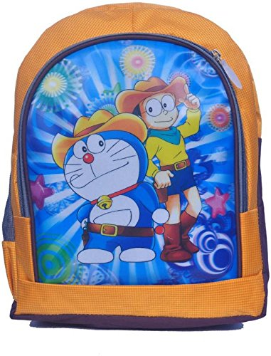 Blossom Doraemon Synthetic Waterproof School Bag  Yellow, 15 Inches