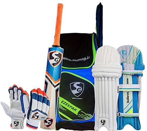 SG Batting Cricket Kit Combo (Ezeepak Kitbag + RSD Spark Kashmir Willow bat, Full Size + Optipro Legguard + Club Batting Gloves) by SG