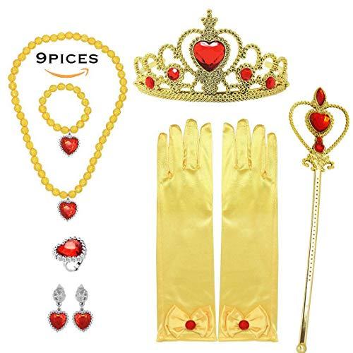 Cinderella Makeup For Halloween (Princess Dress Up Gift Set of 9 Belle Yellow Makeup Accessories)