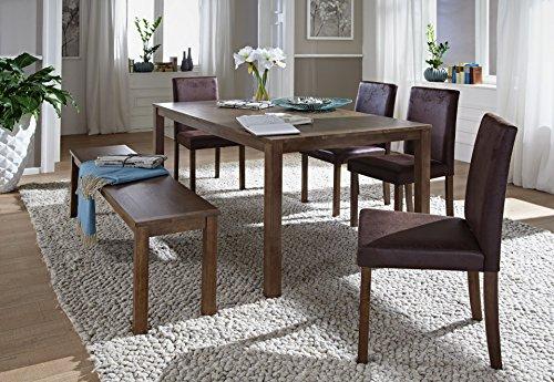 SAM® 6tlg Tischgruppe, Essgruppe Tom, 140 cm, nussbaumfarbig Antik-Look, Sitzgruppe bestehend aus 1 x Esstisch Tom, 4 x Polsterstuhl Billi, 1 x Sitzbank Tom