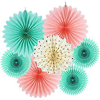 SUNBEAUTY Tissue Paper Fans Decorations Kit Wedding Bridal Shower Baby Shower Birthday Decoration Hanging Paper Honeycomb Decoration, Cream Mint Green Rose Pink 7pcs