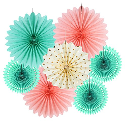 SUNBEAUTY Tissue Paper Fans Decorations Kit Wedding Bridal Shower Baby Shower Birthday Decoration Hanging Paper Honeycomb Decoration, Cream Mint Green Rose Pink 7pcs (Teal Green Roses)