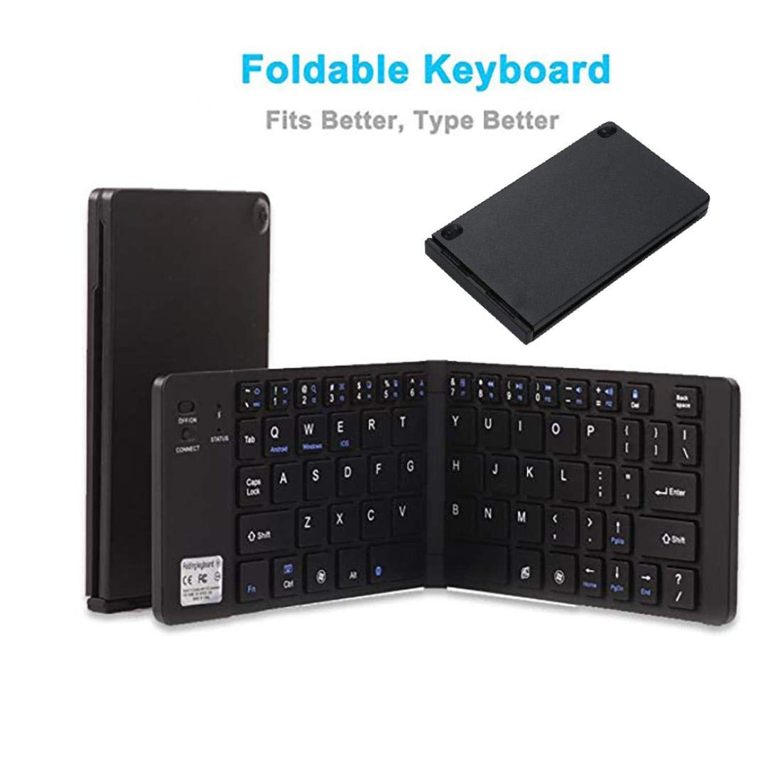 SUKEQ Foldable Bluetooth Keyboard, Portable Lightweight Ultra Slim Wireless Keyboard for iPhone, iPad, Laptops, Tablets and Android (Black)