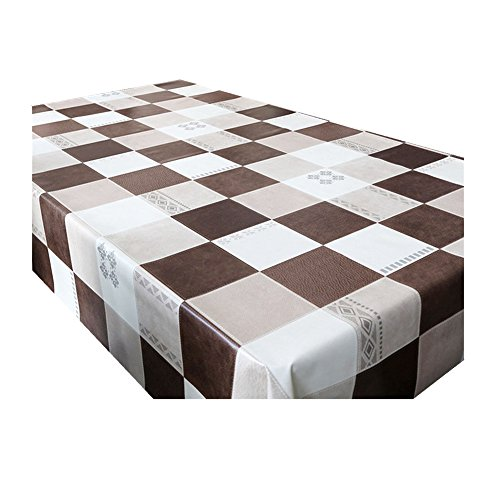 Fanjow Vinyl Tablecloth Heavy Weight Kitchen Table Cover Spill-proof Water-proof Oil-proof Mildew-proof Dining Wipe Clean PVC Tablecloth (137cm180cm/53.94