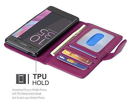 Cadorabo - Funda >                                          Sony Xperia XA                                          < Book Style de Cuero Sintético en Diseño Libro �?Etui Case Cover Carcasa Caja Protección con Tarjetero in NEGRO-ÓXIDO BURDEOS-VIOLETA