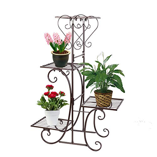 Moutik Metal Garden Stands Outdoor Holder Tiered Display 4 Tier Plants Patio Flower Holder Decor Pots Plant Stand, Bronze (Patios Plants For)