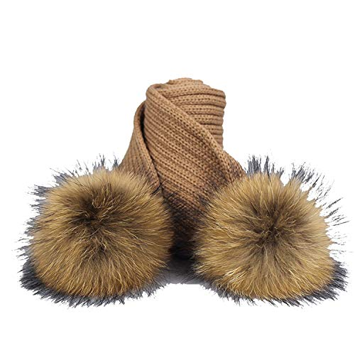 (SexT Hats New Girl Pom Pom Beanie Warm Knitted Bobble Fur Pompom Hat and Scarf Set Children Real Raccoon Fur)