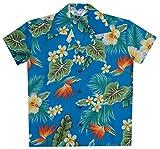 Hawaiian Shirts 46B Boys Flower Leaf Beach Aloha Holiday Casual Turquoise L