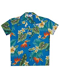 Alvish Hawaiian Shirts Boys Flower Leaf Beach Aloha Party Camp Holiday Casual