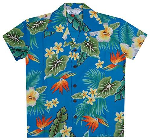 Hawaiian Shirts 46B Boys Flower Leaf Beach Aloha Holiday Casual Turquoise L (Hawaiian Clothing For Kids)