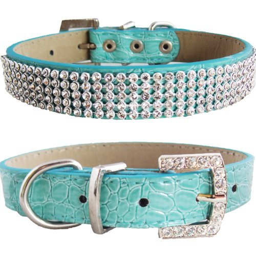 WwWSuppliers Crocodile PU Leather Bling Brilliant Sparkling Shine Flashy Rhinestones Adjustable Dog Puppy & Cat Luxury Cute Elegant Fashion Collar (Teal, Medium)