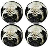 Cute Pug Dog Puppy Rubber Round Coaster set (4 pack) Great Gift Idea
