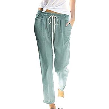 c4c94f171 Hibote 100% Cotton Trousers for Women, Ladies Loose Summer Pants Beach Pants  7/
