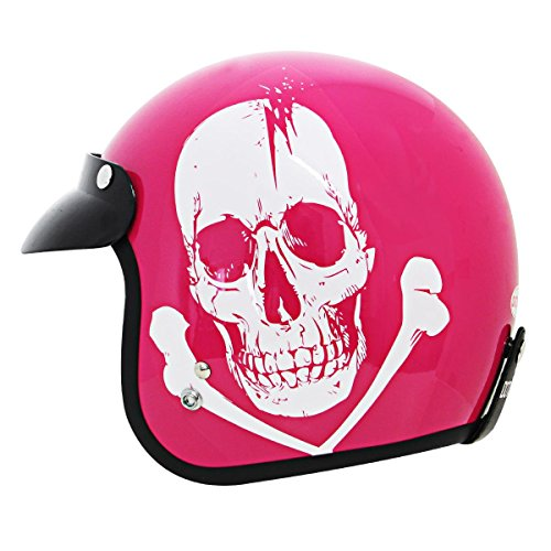 Outlaw Open Face (Outlaw Skull Pink Motorcycle Open Face Helmet -)