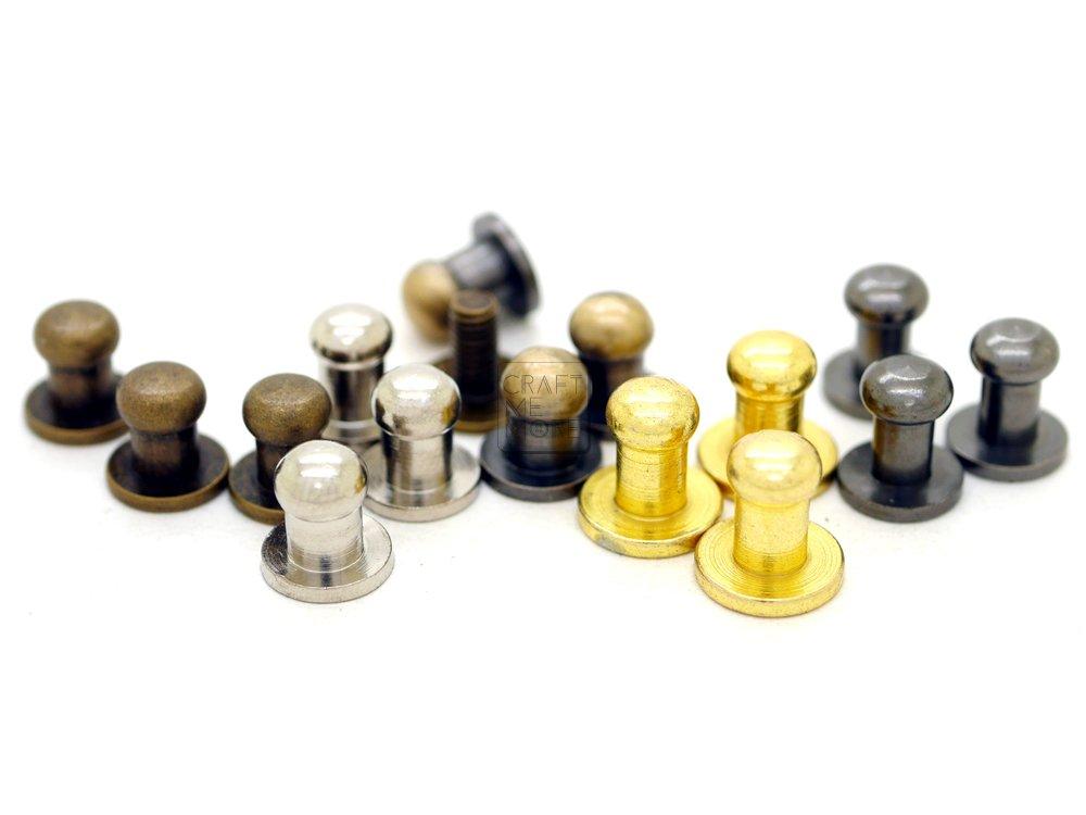 CRAFTMEmore 5MM Ball Head Stud Screw Back Nipple Rivet Studs Button Strap Stopper Leathercraft 20 Pack Antique Brass