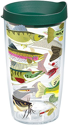 Tervis 1216012 Freshwater Fish and Lures Tumbler with Wrap and Hunter Green Lid 16oz, Clear