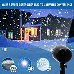 XEDUO LED Snowflake Light, Rotating Projection Snowfall Lights Lamp Waterproof Sparkling White Snow Decor Xmas Lighting with Wireless Remote Control (Black)