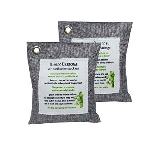 Yoo Fancy 2 Pack Nature Fresh Air Purifying Bag Deodorizer Bamboo Activated Charcoal Air Purifier Bags (2X 220g) -