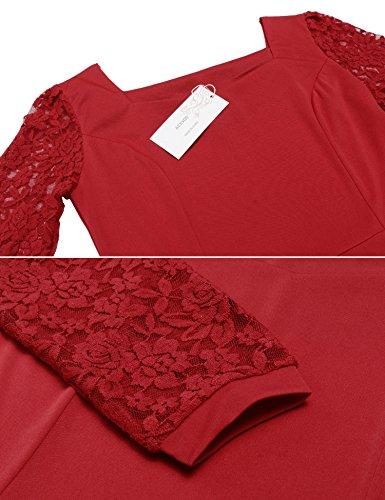 Dentelle Femmes Acevog Crochet Manches 3/4 Vin Robe Midi Évasé Plissé Rouge Vintage 2