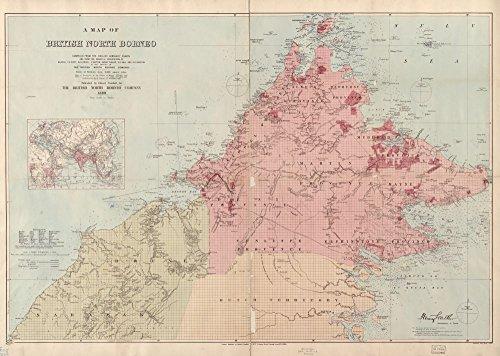 Vintage 1899 Map of A map of British North Borneo Brunei, Malaysia, Sabah, Sarawak
