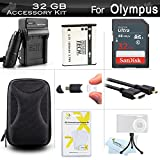 32GB Accessories Kit For Olympus SZ-12, SZ-31MR iHS SZ-16 iHS, TG-850 iHS, TG-860, TG-870 Digital Camera Includes 32GB High Speed SD Memory Card + Replacement LI-50B Battery + AC/DC Charger + Case + Much More