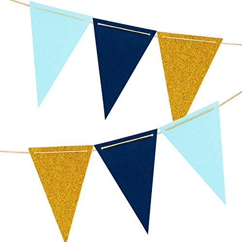 10 Feet Paper Pennant Party Banner, Triangle Flags Bunting, Paper Triangle Garland for Wedding Decor, Nursery Wall Decor, Baby Shower, Bridal Shower (Gold Glitter, Aqua Blue, Navy Blue) 18PCS Flags
