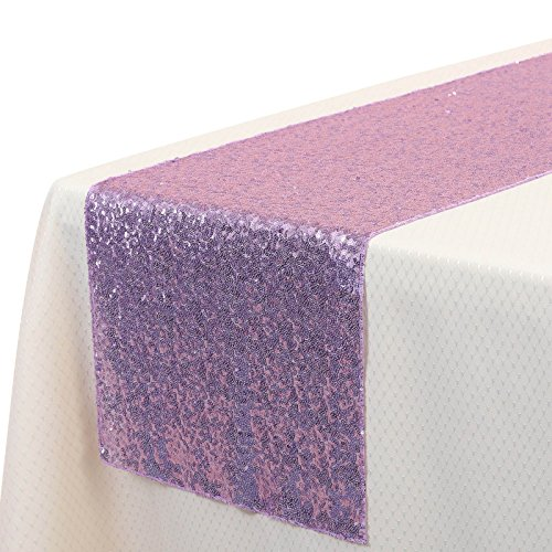 VEEYOO 14x108 inch Sparkly Glitter Sequin Table Runner - Wedding Party Dining Kitchen Cloth Linens, Light Purple