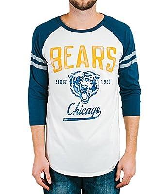 Junk Food Chicago Bears Adult Men's Raglan Striped Sleeves White T-Shirt