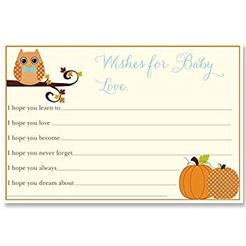 baby shower wishes for baby cards blue boys owl pumpkins fall