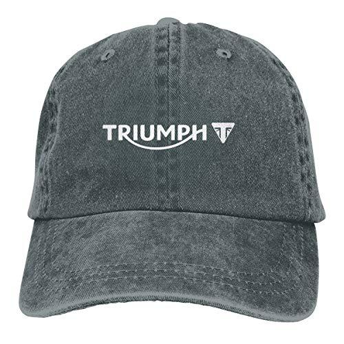 KAIFENG Customized Triumph Motorcycles Daytona Logo White Geek Denim Cap for Deep Heather (Triumph Heather)