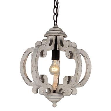 DOCHEER Vintage Distressed Metal Wood Chandelier 1-Light Retro Iron Wooden Chandeliers Light Fixtures Hanging Lamp for Dining Room, Living Room, Bedroom, Kitchen Island, Foyer, Entryway, Hallway