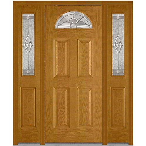 National Door Company Z008697L Fiberglass Oak, Fruitwood, Left Hand In-swing, Exterior Prehung Door, Master Nouveau 1/4 Lite 4-Panel, 36''x80'' with 12'' Sidelites by National Door Company