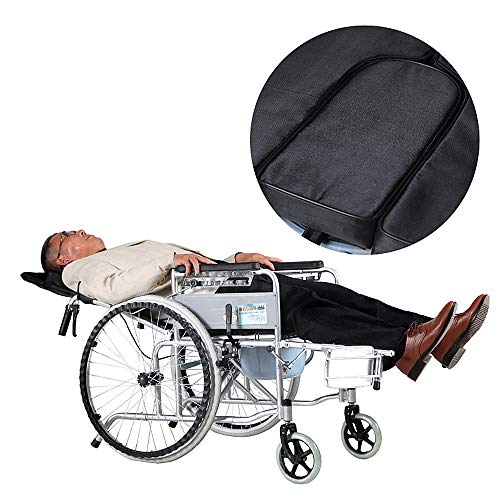 Pandady Reclining Wheelchair, Toilet Light Thick Steel Pipe 6 Mode  Adjustment Before and After Four Brakes Light Travel Portable,OxfordCloth