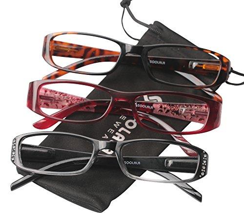 SOOLALA 3-Pairs Womens Designer Spring Hinge Rhinestone Lightweight Reading Glasses, 3Mix New, - Reading Online Glasses Lens Glass